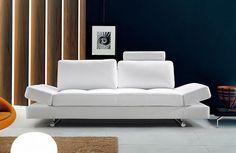 VG2T0837-Divani Casa Hymn - Modern White Leather Sofa with Adjustable BackrestBuilt for comfort, the Hymn sofa is upholstered in white top grain authentic half leather with a 1.9 high density foam for a medium firm seating. Features adjustable headrests, backrests and armrests. The log shaped headrests adjust for control of individual neck comfort and the backrests move forward and backward to allow for additional space on the sofa seat. Adjustable armrests fold upward for additional…