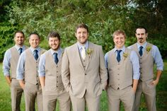 Navy & Yellow Outdoor Wedding. Groomsmen in Khaki Suits and Blue Shirts