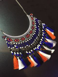 Colar+boho+chic+azul+e+laranja+-+Vanguarda+Store