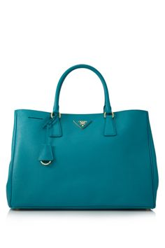 wishlist - a Prada Lux Saffiano tote in this gorgeous blue-green shade <3