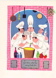 Too Many Cooks vintage illustration page Alice and Martin Provensen chef cooking - Free U.S. shipping. $15.00, via Etsy.