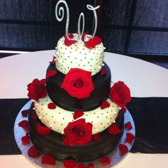 Red black and white wedding cakes  Created by Cake Kouture by Char