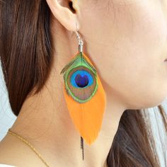 Boho Style Peacock Feather Themed Earrings //Price: $8.35 & FREE Shipping //     #hashtag3