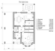 План первого этажа красивого двухэтажного дома из светлого кирпича с полукруглым эркером Villa, Floor Plans, House Design, Home Decor, Houses, Decoration Home, Room Decor, Architecture Design, Home Interior Design