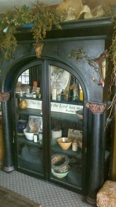 Old pharmacy cabinet turned into dining toom show place