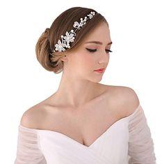 Bella-Vogue -1pcs Handmade Crystal Rhinestone  Pearls Headdress Bridal Wedding hair accessories Headwear Headpiece Head Flower-NO.176(white) >>> Click on the image for additional details.