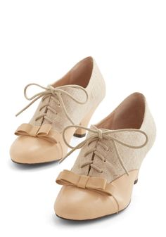 A Sheen Sweep Heel in Beige. Flaunt your all-around-showstopping style in these sandy beige pumps by Mojo Moxy. #tan #wedding #bride #modcloth
