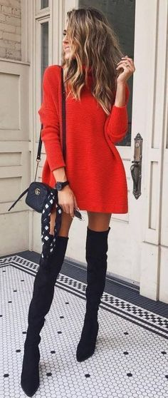 Fall Style // Red sweater dress + bag + over knee boots Herbststil // Rotes Pulloverkleid + Tasche + Overknee-Stiefel Winter Dress Outfits, Winter Outfits For Work, Outfit Summer, Orange Winter Dresses, Winter Night Outfit, Winter Outfits 2019, Cute Dress Outfits, Autumn Outfits, Night Outfits