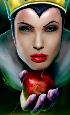 The Fairest of Them All by Monroe Hayden (Angelina Jolie as The Evil Queen from Snow White and the Seven Dwarfs. Disney Pixar, Arte Disney, Disney Descendants, Disney Fan Art, Disney Villains, Disney And Dreamworks, Disney Love, Disney Magic, Deviant Art
