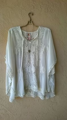Image of Johnny Was silk applique kaftan in bone for fall romantic days