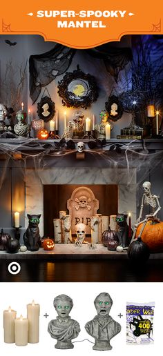 A fireplace mantel is a centerpiece in any room, but at Halloween it's time to take it up a level with fun festive pieces from our Nocturne Party and Decor Collection. Add in fun surprises like motion-activated statues, or paint your own original Halloween scene on a Handmade Modern canvas. A mantel-full of candles (real or flameless) lets you bring a little light to a spooky scene.