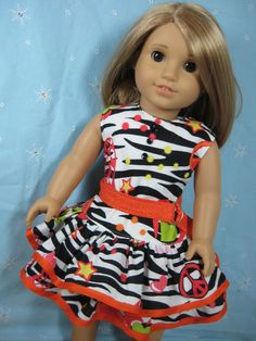 18 inch Doll Clothes American Girl Peace and Zebra by nayasdesigns, $22.50