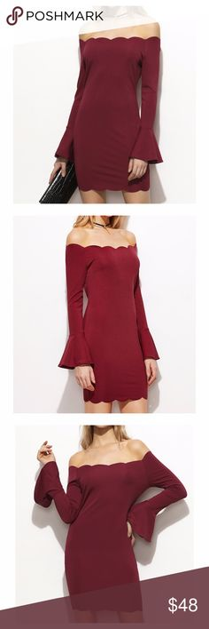 Burgundy Red Off the Shoulder Long Sleeve Dress DESCRIPTION - Off the Shoulder - Long Sleeve - Bell Sleeve - Bodycon Silhouette - Scallop Hem - Fabric has some stretch - 95% Polyester, 5% Spandex - Season: Fall/Winter  STYLING TIPS: - Undergarments: May be worn with a convertible bra, strapless bra, adhesive bra, petals, or no bra. - Jewelry: Pair this dress with a choker for a boho chic look. - Shoes: Black sandals are always a good idea.  cute homecoming party cocktail wedding guest…