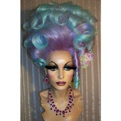 Drag Queen Wig Big Tall Updo Lavender Teal Blue Tips French Twist... ❤ liked on Polyvore featuring beauty products, haircare and hair styling tools