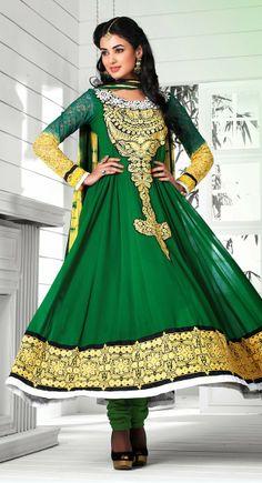 Captivating Green & Yellow Salwar Kameez