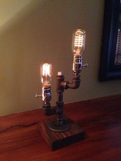 Vintage Industrial Style Metal Pipe Table Desk Lamp With Edison Bulb MT40