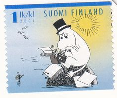 Moomin postage stamp from Finland Tove Jansson, You've Got Mail, Animated Cartoons, A Comics, Mail Art, Totoro, Postage Stamps, Finland, Fairy Tales