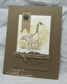 Stampin' Up! ... handmade thank you card ... monochromatic taupe ... Wetlands Canadian Goose on a torn edge panel ... twine wrapped focal area panel ... great masculine look ...