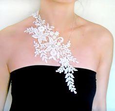 silver/white lace necklace  art deco floral bib  by LaceFancy