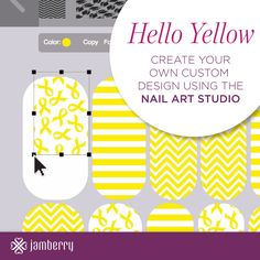 Jamberry Nails wraps in yellow using the Nail Art Studio from Jamberry Nails...design your own nails! Available on my Independent Consultant site: http://liz957.jamberrynails.net/nas/  #jamberry