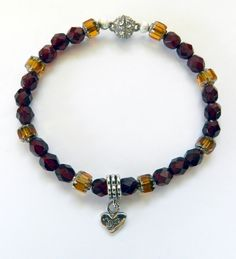 Beautiful Bracelet-Valentines Day-Red Garnet Stones-Czech Glass Capped Beads-2 Sided Silver Heart Charm by rosaliascharm on Etsy