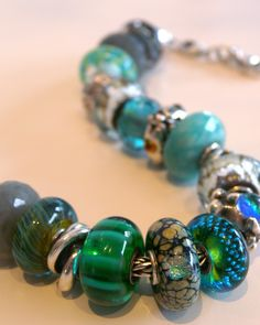 Trollbead bracelet, aqua and blue greens...I have some of these :)