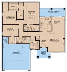 The charming 1-story floor plan has 1438 square feet of heated and cooled living space and includes 3 bedrooms. #houseplan #bedrooms