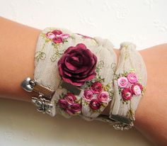 Wrap Bracelet,Textile Wrap Bracelet or Necklace,Textile Cuff,Embroidery Cuff,Embroidery Bracelet,Romantic Bracelet. $22.00, via Etsy.