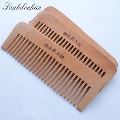 Wide Tooth Natural Peach Wood Comb cepillo de pelo No-static Massage Hair Brush Health care Wooden Comb Hair Styling Tools MH311