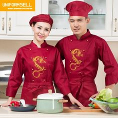 Hotel Uniform Chef Wear Long Sleeved Dining Restaurant Clothes Kitchen Fixtures Work Clothes of Uniformed Plus Size Chinese Restaurant, Restaurant Design, Protein Shop, Housekeeping Uniform, Hotel Uniform, Restaurant Uniforms, Food Truck Business, Dragon Print, Restaurants