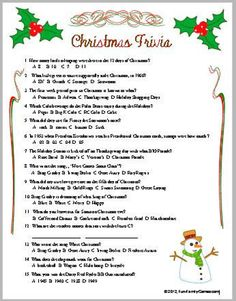 Christmas Trivia Questions, Christmas Trivia Games, Xmas Games, Printable Christmas Games, Christmas Games For Family, Holiday Party Games, Christmas Holidays, Xmas Party, Christmas Ideas