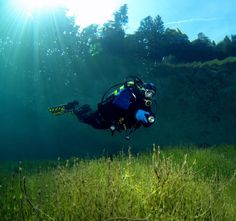 Scuba Diving in Sameranger Lake in Tyrol Austria:  What a stunning image this is.