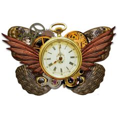 KMRD-Steampunk-clock-butterfly.png ❤ liked on Polyvore featuring steampunk, art and clock