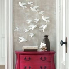 Birds of Flight Wall Art from Grandinroad. This is so relaxing and calming to look at. Simple wall art, especially for a narrow wall space.