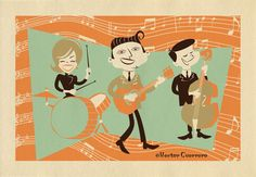 Rockabilly band, part of a series of illustrations inspired by Mid-Century Modern music and entertainmen.