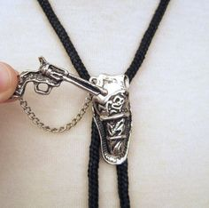 Bolo Tie Vintage Silver Gun and Holster
