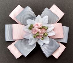 Pink Rose Hairbow Pink and Gray Hairbow by GloriaMillerCreation Ribbon Art, Diy Ribbon, Ribbon Crafts, Ribbon Bows, Ribbons, Flower Hair Bows, Girl Hair Bows, Making Hair Bows, Floral Hair