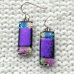 Purple Fused Glass earrings - purple and rainbow dichroic glass dangle bar earrings handmade jewellery by Fired Creations Glass EE 377 by FiredCreationsGlass on Etsy