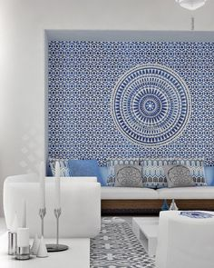 Awesome Greek living room with built in bench seating. Love the blue wall mural. The post Greek living room with built in bench seating. Love the blue wall mural. Mimar I… appeared first on Decor Designs . Style Marocain, Interior And Exterior, Interior Design, Moroccan Interiors, Moroccan Bedroom, Moroccan Decor Living Room, Mediterranean Decor, Mediterranean Architecture, Mediterranean Bathroom