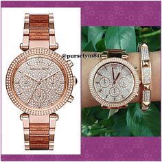 Authentic Michael Kors Crystal Pave Gold Watch % AUTHENTIC✨ This luxe , ladylike timepiece is trimmed with sparkling accents for an elegant, uptown sensibility, while a rich mix of rose gold-tone stainless steel. Stunning women's watch from Michael Kors! Crystal accented bezel. Crystal pave dial w/ rose gold tone hands & index hour markers. New w/ tag. Bangle not includedBox & card included  NO TRADE PRICE FIRM ‼️ Michael Kors Accessories Watches