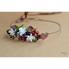Succulent white flower crown. Succulent and red purple berries Halo. ($39) via Polyvore featuring accessories, hair accessories, floral crown, white flower crown, white garland, flower crown and bridal flower crown