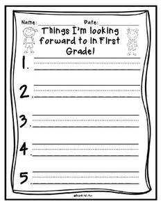 Give this to your students as an end of the year writing activity. They can talk and write about what it will be like next year! Give the First Grade list to Kindergartners and the Second Grade list to First Graders!