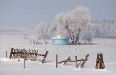Podlasie wieś zimą