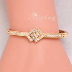 Free shipping Fashion Hot sell Women/Lady's Clear Austrian Crystal 18k Rose Gold Plated Bracelets & Bangles Jewelry Gifts