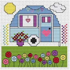 Vintage Caravan Card Kit Contemporary cross stitch card kit by Fat Cat Cross Stitch. May be suitable for a birthday/retirement card etc. for someone special.Small design so may be suitable for beginners depending on their ability. Contents: 14 count white aida fabric, stranded cottons, chart, needle, aperture card and envelope and full instructions. Approx size of design: 8.5cm x 8.3cm