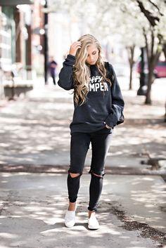 jessakae, casual wear, keds, zappos, happy camper, graphic sweatshirt, blonde, blonde hair, hair, style, fashion, street style, womens fashion