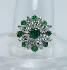 Kin Vintage Emerald 1 15ct Marquise Diamond Ring 14k Gold Estate Jewelry | eBay