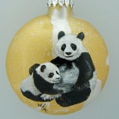 Hand Painted Glass Christmas Ornament  Panda and cub by HarmanArt