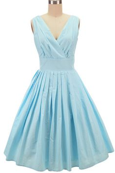 pinup style surplice sun dress - light blue dot | le bomb shop