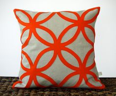 Orange Geometric DESIGNER PILLOW COVER in by JillianReneDecor, $110.00